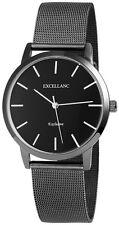 Excellanc 1520 Damen Armbanduhr schwarz Netzoptik Metallarmband Damenuhr Uhr