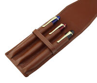 Leather Fountain Pen Case Top Washed Cowhide Pouch for 3 Pens, Coffee Pen Holder