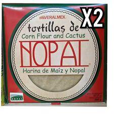 X2 Tortillas de Corn Flour and Cactus NOPAL Harina de maíz y nopal VERALMEX 500g