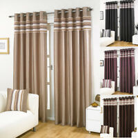 Cascada LINED EYELET Chenille Striped & Faux Silk Curtains in 5 sizes, 4 colours