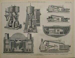 1886 Aufdruck Dampf Motor Marine Invertiert Zylinder Schrauben Direct Acting