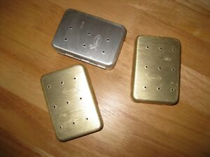Set of three Vintage Perrine fly boxes with flies