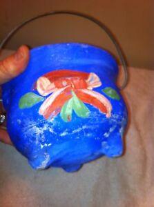 Concrete Kettle bean pot cauldron three leg tole garden  art painted