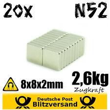 20x Magnet Quader 8x8x2mm N52  magnetisch kleine Magnete Experimentiermagnete