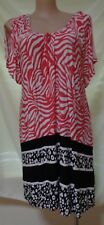 New Autograph size 16 black white red border print long top NWT