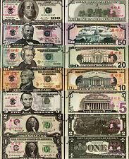 Billets ECHANTILLON 1 2 5 10 20 50 100  Dollars Test NEUF € Note  Practice