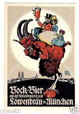 POSTCARD GERMAN BEER BOCK-BIER LOWENBRAU SIGNED OBERMEIER