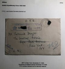 1939 British Expeditionary Forces Army PO Censored Cover To New York Usa