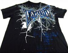 Mens NEW Tapout Black Blue Metallic Distressed Logo Shirt Size S
