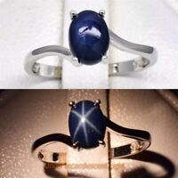 7x5mm Dark Blue Natural 6 Ray Star-Sapphire Ring in 925 Sterling Silver