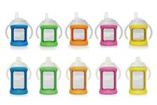 Cherub Baby Glass Sippy Cup w Silicone Shock Proof Sleeve Wide Neck 150mL /240mL