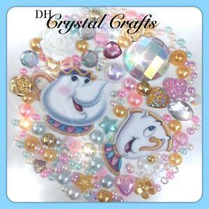 Disney Beauty & the Beast Mrs Potts & Chip Theme Flatback Cabochons & Pearls #3