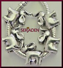 5 Elephant Charm Spacer Fits European Style Jewelry 12 * 14 & 5 mm Hole S096
