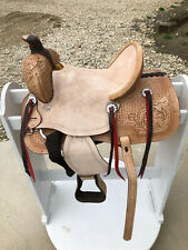 """12"""" New Western Leather Youth Child Horse Pony Ranch Saddle Natural"""