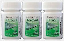 FeroSul 325mg Ferrous Sulfate Coated GREEN Tablets 100ct ( 3 pack )