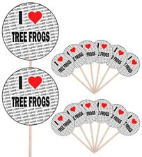 I Love Tree Frogs Party Food Cup Cake Picks Sticks Flags Decorations Toppers