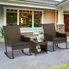 3pc Outdoor Wicker Rocking Chair Table Set Rattan Patio Garden Furniture Cushion