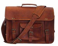 New Big Messenger Men's Genuine Brown Leather Shoulder Laptop Briefcase BAG