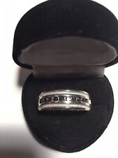 MENS WOMEN BLACK DIAMOND WEDDING  BAND RING  SZ 8 SZ 9 SZ 10 SZ 11 SZ 12 + GIFT