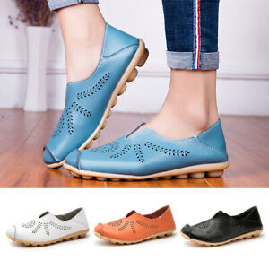Women's Slip On Leather Flat Shoes Comfy Soft Ladies Moccasin Loafers Round NEW