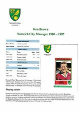 KEN Brown Norwich City MGR 1980-1987 ORIG firmato FIGURINA PANINI STICKER (USATI)
