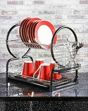 2 Tier Dish Drainer Rack Plate Stand Bowls Cutlery Cups Glass DIP Tray Black