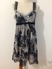 Ann Taylor LOFT Sleeveless Cotton Dress Sundress Empire Waist Gray & Ink Size 8