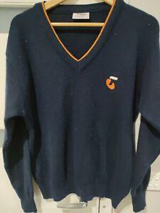 Vintage TELSTRA Yakka mens size 20 jumper blue knit wool blend staff uniform
