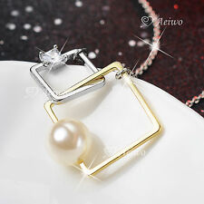 18K WHITE YELLOW GOLD GF CLEAR CRYSTAL PENDANT PEARL NECKLACE SQUARE