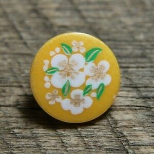 "vintage JHB Button Yellow w/ White Flowers 1/2"""