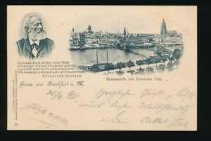 AK Gruss aus Frankfurt a.M., Mainansicht m. Eisernem Steg, gelaufen 1898 (55866)