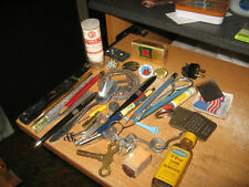 Vintage Estate Junk Drawer Lot Mixed Pens Pins Keys Button Bottles Burro Plug