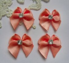 "7/8"" Light Coral Satin Mini Ribbon Bows w/Rhinestone Bridal DIY-30 pcs-R0063LC"
