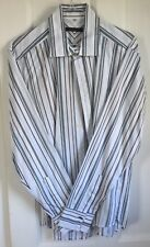 "Mens Reiss Cotton Shirt White Striped Large 40"" chest"