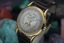 Vintage ULTRAMAR 19 Jewel Triple Date Moon Phase Gold Plaque Men's Dress Watch