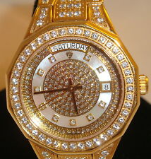 Men's Women's Croton Swiss Movement Watch Gold tone Gemstone Watch GORGEOUS
