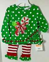 Rare Editions Candy Cane Applique Ruffle Legging Set  12 Month NWT 50% OFF NWT