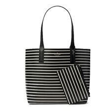 Kate Spade WKRU5966 Reversible Tote Arch Lauren Strip Black Multi