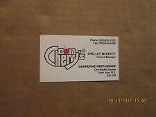 Don Cherry's Vintage Grapevine Restaurant Logo Hockey Business Card