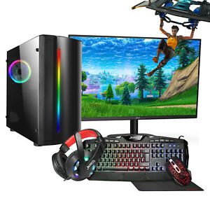 Fast Gaming PC Bundle QUAD Core i3 Computer 500GB HDD 8GB RAM Win 10 GT1030 Set