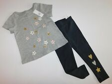 NWT Gap/Carters Baby Girl 2 Pc Set Leggings/T-Shirt Happy Face Stars 3Yr New