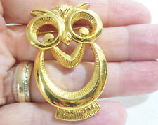 HOOT OWL Gold Plate Pin Brooch Openwork Bird Figural Vintage Estate
