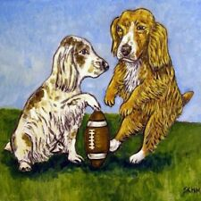 cocker spaniel field goal animal dog art tile football