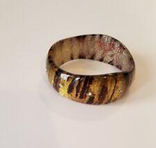 Animal Print Bronze Brown Gold Silver Glitter Plastic Bangle Bracelet Curved