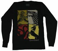 Game of Thrones Mens Long Sleeve T-Shirt - 4 Houses Color Stamped Boxes
