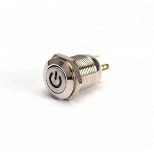 12mm metal high round reset push button power symbol switch 12v