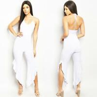 Haute Women Ivory Sleeveless Halter Asymmetric Ruffle Wide Leg Jumpsuit S M L