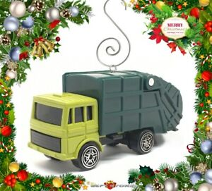 CHRISTMAS ORNAMENT GREEN TRASH TRUCK GARBAGE REFUSE WASTE SERVICE DUMP RECYCLE