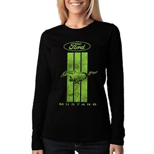 Velocitee Ladies Long Sleeve T-Shirt Licensed Ford Mustang Pony Logo A21529