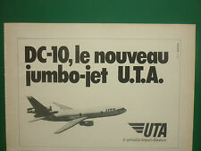 6/1973 PUB COMPAGNIE UTA AIRLINE MCDONNELL DOUGLAS DC-10 JUMBO JET FRENCH AD